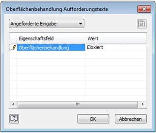 Symboltext mit Abfrage im Inventor: Dialog Oberflächenbehandlung Aufforderungstexte