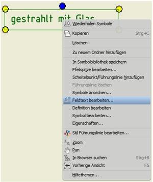 Symboltext mit Abfrage im Inventor: Symbol verändern mit Feldtext bearbeiten