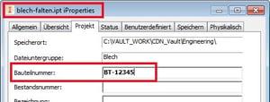"""Symboltext mit iProperties füllen: Modelldatei mit Wert in der Eigenschaft """"Bauteilnummer"""" eintragen"""