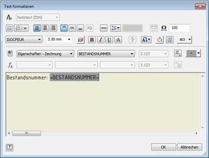Symboltext mit iProperties füllen: Textparameter einfügen aus Zeichnung