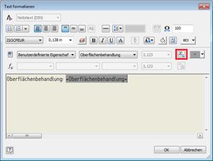 Symbol mit benutzerdefinierten Eigenschaften aus Modellen: Textparameter einfügen