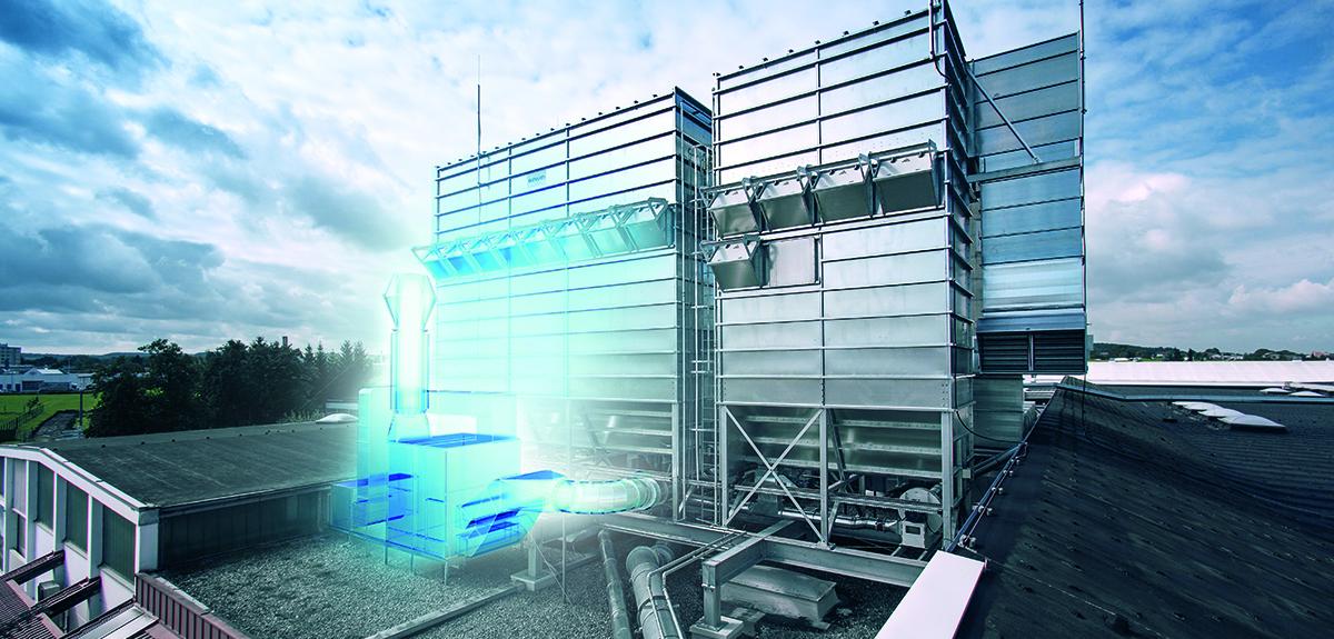 Industriefilteranlage von Scheuch auf dem Dach montiert.